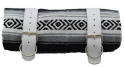 Mexican Serape Roll-up Blanket with White Leather Belts- Black/White/Gray Serape