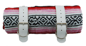 Mexican Serape Roll-up Blanket with White Leather Belts- Red Serape