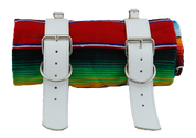 Mexican Serape Roll-up Blanket with White Leather Belts- Rainbow Serape