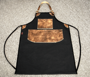 Bike Builder/Mechanic/Barber/Barista Canvas and Leather Apron-Black and Brown