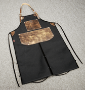 Bike Builder/Mechanic/Barber/Barista Canvas and Leather Apron-Black and Brown Split Legs