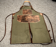 Bike Builder/Mechanic/Barber/Barista Canvas and Leather Apron-Army Green and Brown Split Legs