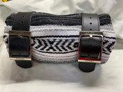 Mexican Serape Roll-up Blanket with Specail Black Leather Belts- Black/White/Gray Serape