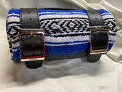 Mexican Serape Roll-up Blanket with Special Black Leather Belts- Blue and Gray Serape