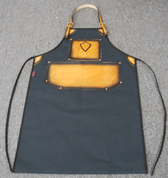 Bike Builder/Mechanic/Barber/Barista Canvas and Leather Apron-Black Canvas Antique Tan Leather w/ Sword Design