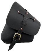 La Rosa Harley-Davidson Softail Rigid Frame Left Side Solo Saddle Bag  Swingarm Bag Black Sword Design Single Strap