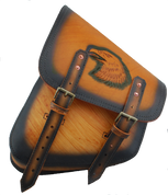 La Rosa Harley-Davidson Softail Rigid Frame Left Side Solo Saddle Bag  Swingarm Bag  Antique Tan with Hand Tooled Eagle
