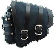 La Rosa Harley-Davidson  All HD Softail Canvas Softail Left Side Saddle Bag   Swingarm Bag with Fuel Bottle Holder - Black with Black Leather