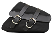 04-UP Harley Davidson Sportster Nightster 1200 Forty-Eight 72 Roadster XL Canvas Right Side Saddle Bag Swingarm Bag - Black Canvas with Black Leather