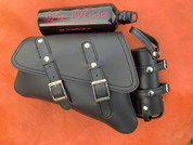 04-UP Harley-Davidson Sportster Nightster 1200 Forty-Eight 72 Roadster Left Side Saddle Bag Swingarm Bag with Fuel Bottle Holder - Black Faux Leather