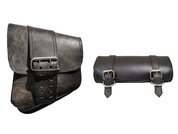 La Rosa Harley-Davidson All Softail Models Left Side Solo Saddle Bag  Swingarm Bag w/Single Strap and Tool Bag  Rustic Black Plain