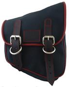 La Rosa Harley-Davidson All HD Softail Eliminator Canvas Softail Right Side Saddle Bag   Swingarm Bag Black with Red Stitching