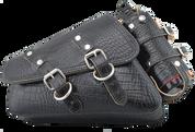04-UP Harley-Davidson Sportster Nightster 1200 Forty-Eight 72 Left Side Saddle Bag Swingarm Bag -Black Alligator w/ Spare Fuel Bottle Holder