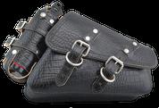 04-UP Harley-Davidson Sportster Nightster 1200 Forty-Eight 72 Right Side Saddle Bag Swingarm Bag -Black Alligator w/ Spare Fuel Bottle Holder