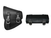 La Rosa Harley-Davidson All Softail Models Left Side Solo Saddle Bag  Swingarm Bag Black Cross Laced & Front Fork Bag Combo