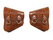 La Rosa Harley-Davidson All Softail Models Left &Right Solo Saddle Bag  Swingarm Bag  Brown Alligator Skin