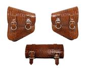 La Rosa Harley-Davidson All Softail Models Left &Right Solo Saddle Bag Swingarm Bag  Brown Alligator Skin w/ Tool Bag