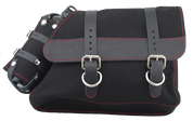 82-03 Harley-Davidson XL Sportster Right Side Solo Saddle Bag - Black Canvas with Fuel Bottle Red Thread