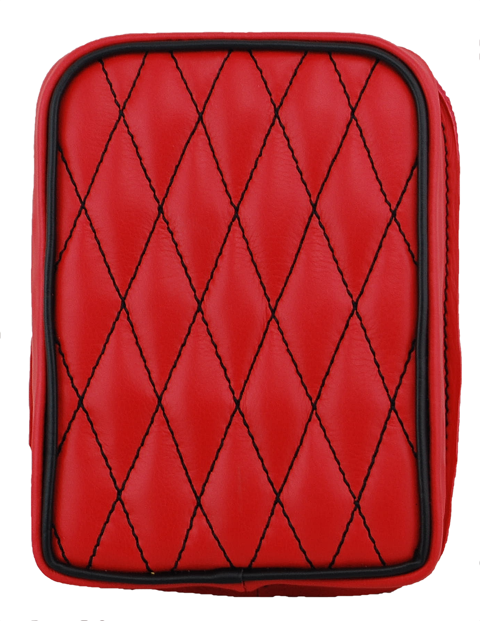 Universal Rear Passenger Pillion Pad Red Diamond Tuk With Black Accents