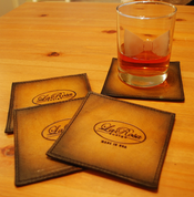 La Rosa Leather Coaster Set - 4PCS Antique Tan Square