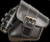 La Rosa Harley-Davidson All Softail Models Left Side Saddle Bag  Swingarm Bag Black Front Wide Strap with Fuel Bottle Holder w/ White Thread