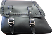 82-03 Harley-Davidson Sportster Saddle Bag - Black Leather w/ Cross Laced
