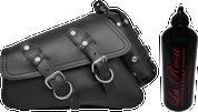04-UP Harley-Davidson Sportster Left Side Saddle Bag Swingarm Bag Plain Black Spare Fuel Bottle-Reinforced
