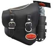 La Rosa Harley-Davidson All Softail Models Right Side Solo Saddle Bag   Swingarm Bag  Rustic Black Leather with Zipper and Fuel Bottle Holder