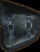 La Rosa Harley-Davidson All Softail Models Left Side Solo Saddle Bag Swingarm Bag Black with Blue Thread