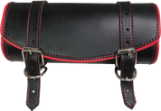 Front Forks Tool Bag Black Leather w/ Red Trim and Thread