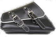04-UP Harley-Davidson Sportster  Nightster 1200   Forty-Eight 72 Roadster Left Side Saddle Bag Swingarm Bag Black w/ White Thread and Trim