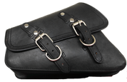 04-UP Harley-Davidson Sportster Left Side Saddle Bag Swingarm Bag -Black Leather Matt Finish
