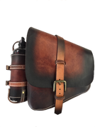 La Rosa Harley-Davidson All Softail Models Left Side Solo Saddle Bag  Swingarm Bag - Hand Dyed Antique Leather with Fuel Bottle Holder