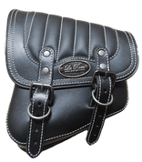 La Rosa Harley-Davidson All Softail Models Left Side Solo Saddle Bag  Swingarm Bag Black w/ White Thread Tuk n Roll