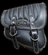 La Rosa Harley-Davidson All Softail Models Right Side Solo Saddle Bag  Swingarm Bag Black w/ White Thread Tuk n Roll