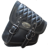 La Rosa Harley-Davidson All Softail Models Left Side Solo Saddle Bag  Swingarm Bag Black w/ White Thread Diamond Tuk