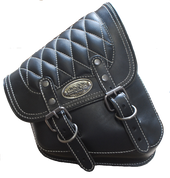 La Rosa Harley-Davidson All Softail Models Right Side Solo Saddle Bag  Swingarm Bag Black w/ White Thread Diamond Tuk