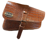 Left Side Solo Saddle Bag for 2016 & Up Triumph Bobber Brown Alligator