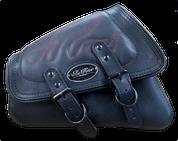 04-UP Harley-Davidson Sportster  Nightster 1200  Forty-Eight 72  Roadster Left Side Saddle Bag Swingarm Bag - Black w/ Red Flame Stitching