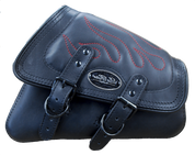 04-UP Harley-Davidson Sportster Nightster 1200  Forty-Eight 72  Roadster Right Side Saddle Bag Swingarm Bag - Black w/ Red Flame Stitching