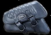 04-UP Harley-Davidson Sportster  Nightster 1200  Forty-Eight 72  Roadster Left Side Saddle Bag Swingarm Bag - Black w/ Diamond Tuk Stitching