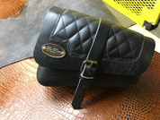Left Side Black Leather Solo Saddle Bag for 2016 & Up Triumph Bobber - Diamond Tuk