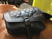 Right Side Black Leather Solo Saddle Bag for 2016 & Up Triumph Bobber - Diamond Tuk