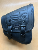 La Rosa Harley-Davidson All Softail Models Right Side Solo Saddle Bag  Swingarm Bag Black Flame
