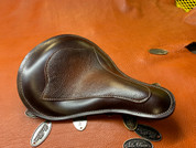 Harley Chopper Bobber Solo Seat HAND DYED Seat - Chestnut with Inlay