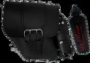 SALE!!!96-UP Harley-Davidson Dyna Wide Glide FXR Left Side Solo Saddle Bag Black with Wide Strap and Fuel Bottle Holder