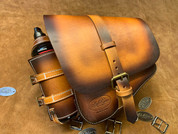La Rosa Harley-Davidson All Softail Models Left Side Solo Saddle Bag  Swingarm Bag - Hand Dyed Tan Leather with Fuel Bottle Holder