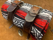 Mexican Serape Roll-up Blanket with Hand Dyed Tan Leather Belts- Red Serape