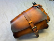 04-UP Harley-Davidson Sportster Nightster 1200   Forty-Eight 72 XL Left Side Saddle Bag Swingarm Bag - Hand Dyed Tan w/ Spare Fuel Bottle Holder