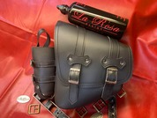 La Rosa Design Left Side Solo PU Leather Swing Arm Bag With Bottle and Holder for 2020 Harley Fat Bob, Fat Boy, and Fat Boy Milwaukee Eight